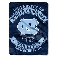 "North Carolina Tar Heels 60""x80"" Royal Plush Raschel Throw Blanket - Rebel Design"