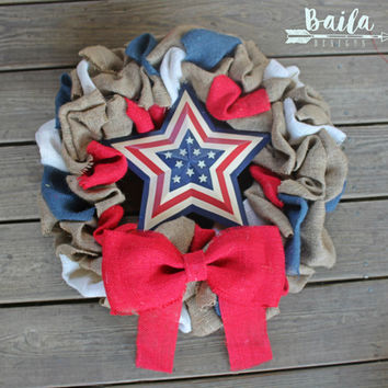 Patriotic burlap wreath,4th of July Wreath,Fourth of July wreath,red and blue wreath,Summer Wreath, france wreath, American wreath, army