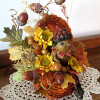 Fall Floral Arrangment / Rustic Autumn Floral Arrangement / Floral In Rustic Pumpkin / Bird Acorns Floral In Rustic Pumpkin / Fall Decor