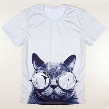 New Summer Style Men/women 3d Printed Tshirts Cat T-Shirt Lovely Cat Glasses Shirts Space Galaxy T Shirt Harajuku Top Tees