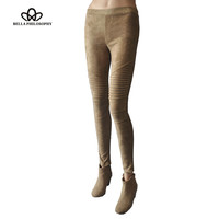 autumn winter fold MOTO high waist retro elastic stretch slim faux suede leggings