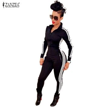 New Women Jumpsuits Rompers 2017 Fashion Ladies Long Sleeve Sportswear Playsuits Zipper Bodysuit Overalls macacao