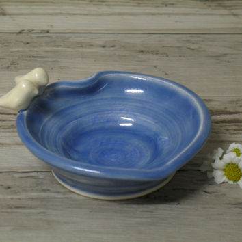 Blue Heart and Bird Jewelry dish ring Holder / Hand Made Ceramic Stoneware / Pottery by Heidi