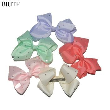 2pcs/lot Extra Large 6'' Grosgrain Ribbon Pinwheel Bow With Hair Clip Hairpin Leave Your Color Choice FC134
