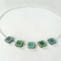 Sky Blue and Green Picasso Square Czech Glass Beaded Necklace