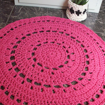 Crochet Rug   Pink Round Rug   Housewares  Holiday Gift Idea  10