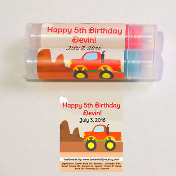 10 Monster Truck lip balm Party Favor - personalized party favor, Monster Truck birthday party, truck party, truck theme birthday party, A84