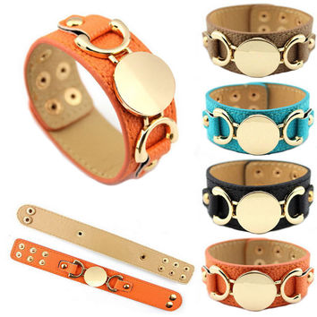 Snap Leather Warp Bracelets for Women Men Jewelry 2016 Monogram PU Leather Cuff Bracelet Jewelry Blank Fashion Female Pulseras