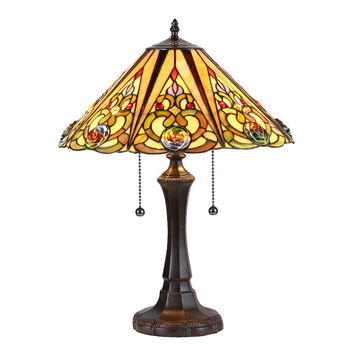 "Kasler, Tiffany-Style 2 Light Victorian Table Lamp 16"" Shade"