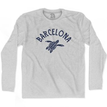 Barcelona Beach Sea Turtle Adult Cotton Long Sleeve T-shirt