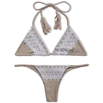 Lace Trim Triangle Brazilian Bikini Set