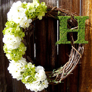 "Personalized 18"" Wreath, Hydrangea Wreath, Front Door Decor, Ribboned Wreath, Year Round Wreath, Etsy Wreath, Moss Wreath"