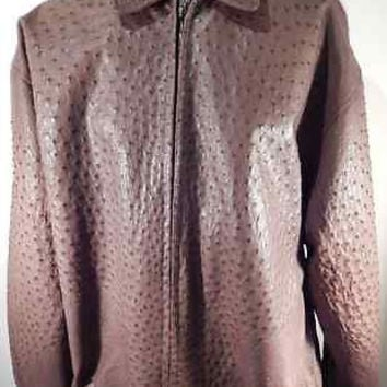 Safari Chocolate All-Over Ostrich Quill Skin Jacket