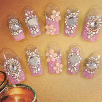 Hime-Gyaru Nail Art - Pink Kiss - Wedding Nails - 3D false fake press-on nail art