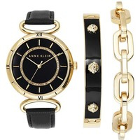 Women's Anne Klein Crystal Detail Leather Strap Watch & Bracelets Set, 26mm