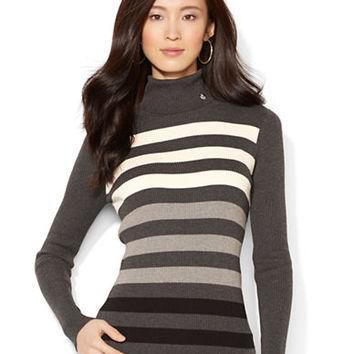 Lauren Ralph Lauren Petite Ombre Striped Turtleneck Sweater