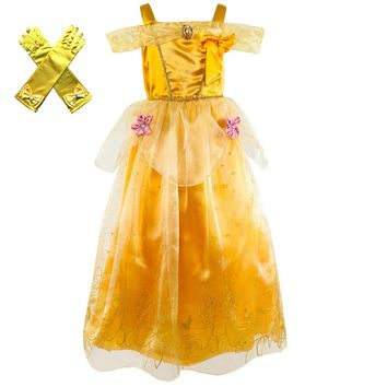 Kids Girl Beauty and the Beast Belle Princess Dress Halloween Tangled Rapunzel Cosplay Fancy Dress Chritmas Clothing for Child