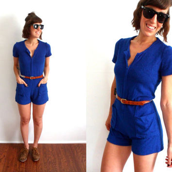 70's Blue Terrycloth Zip Up Romper Short Sleeve Onesuit Shorts Pockets