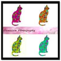 Cat Clip Art, Funky Multicoloured Flower Cats, Jpeg and Png, Printable Cat Art,  Instant Download, Printable Poster, Scrapbooking, Cards