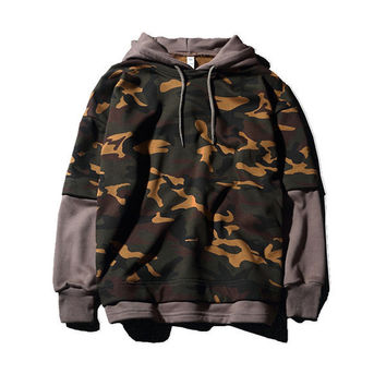 Mens Pull Over Camo Layered Look Hoodie