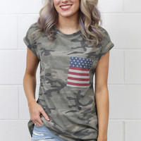 Camo + Flag Pocket Short Sleeve Tee {Olive Mix}
