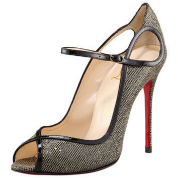 Christian Louboutin - Glittered Keyhole Mary Jane - Bergdorf Goodman