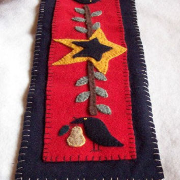 Primitive Wool Candle Mat Table Center Piece wool applique wool embroidery Crows olive vine and stars