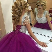 2016 latest style ball gown prom dress purple pearls princess sweetheart prom dresses pleated puffy prom gowns