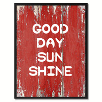 Good Day Sun Shine Saying Canvas Print, Black Picture Frame Home Decor Wall Art Gifts