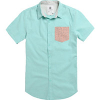 On The Byas Andy Contrast Pocket Short Sleeve Woven Shirt - Mens Shirt - Green - Extra Large