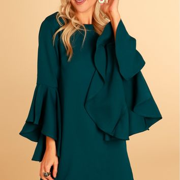 Ruffle Sleeve Shift Dress Dark Teal