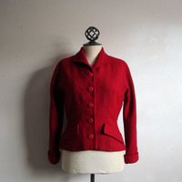 Red 50s Wool Blazer Vintage 1950s W E White Dark Red Boucle Textured Ladies Jacket Small