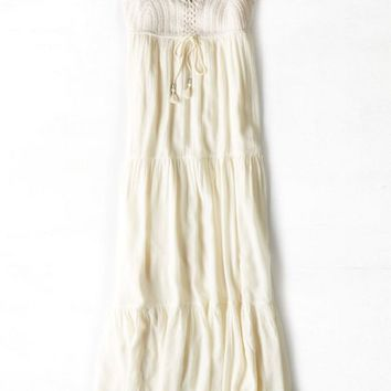 AEO Women's Crochet Tiered Maxi Dress (Cream)