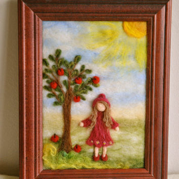 Waldorf inspired needle felted Fairy Tale/ Wool Painting:little girl with the apple tree.