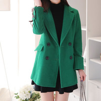 Green Long Sleeve Coat