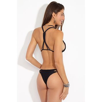 Molokai Strappy Bikini Bottom - Black Beauty