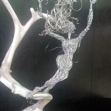 The Wind Spirit Fairy. Enchanting Wire sculpture Unique Art Gift fantasy Magical Fairytale love wonderland