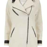 Cream PU biker coat - View all Clothing Brands  - Clothing