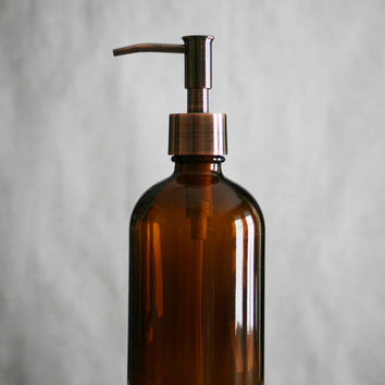 Amber Glass Apothecary Style Soap Dispenser