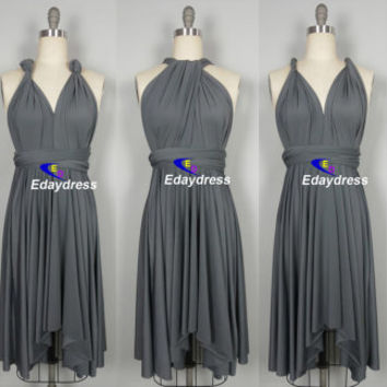 FREE BANDEAU knee length Short Bridesmaid Convertible Dress Charcoal Grey Infinity Dress Multiway Dress Wrap dress