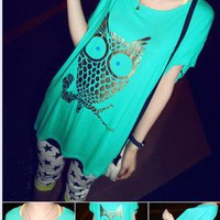 Metallic Color Owl T-shirt for Women A8
