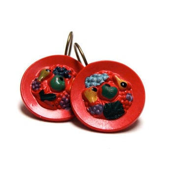 "Fruit Bowl Earrings, Painted Vintage Button Drop Earrings, Red Rainbow Dangles, Grapes Pears Novelty Jewelry, Retro Hooks - ""Puddin' & Pie"""