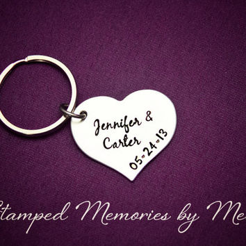 Anniversary Heart - Hand Stamped Personalized Key Chain or Necklace - Couple's Names Keychain - Stainless Steel Heart - His and Her Name