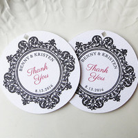 Round Thank You Wedding Favor Tags, Welcome, Black, Red & White, Baroque Border, Any Color, Personalized Gift or Product Labels - Set of 20