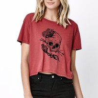 OBEY Tiny Cropped T-Shirt - Womens Tee - Brown