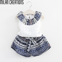 Children Clothing Set Girls Tops and Shorts 2016 Baby Girls Summer Clothes Kids Tracksuit Floral Print Vetement Fille Girl Set