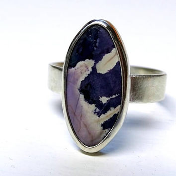 purple Tiffany stone ring, silver Tiffany stone ring, Utah Bertrandite ring, engagement ring, Opal Fluorite Ring, rare gemstone ring