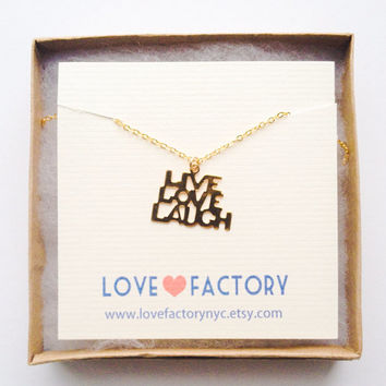 Vintage charm live love laugh Gold adorable Gorgeous Necklace :) Adorable Message metal charm xoxo great for gift