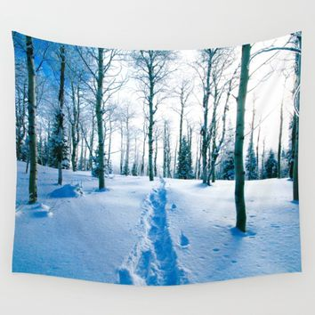 Snowshoeing Adventure Wall Tapestry by Lindsey Jennings Photography