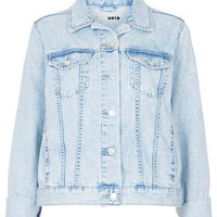 MOTO Fitted Denim Jacket - Bleach Stone